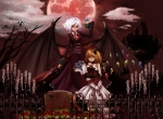 Konachan.com - 101663 dress flandre_scarlet flowers gloves merutoreimu moon red_eyes remilia_scarlet rose touhou wings