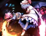 Konachan.com - 101785 dress fire flandre_scarlet gyu-tan hat red_eyes remilia_scarlet touhou wings