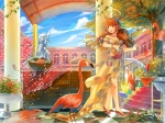 Konachan.com - 85197 animal bird building clouds dress feathers flowers food fruit halo instrument long_hair nari_otoko original petals red_eyes red_hair sky tree violin
