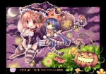 Konachan.com - 85838 animal_ears cleavage duji_amo green_eyes halloween hat horns moon thighhighs witch