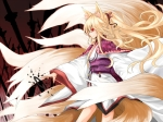 Konachan.com - 87639 animal_ears blonde_hair foxgirl hoshino_yuu japanese_clothes long_hair original ponytail red_eyes tail