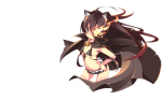 Konachan.com - 87743 animal_ears black_rock_shooter bra brown_hair cape long_hair shakugan_no_shana shana underwear white