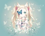 Konachan.com - 89241 animal blonde_hair blue_eyes catgirl dress h2so4 island_of_horizon