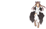Konachan.com - 89310 animal_ears boots brown_hair ch@r garter_belt headband long_hair maid pink_eyes thighhighs white