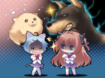 Konachan.com - 89814 animal brown_eyes brown_hair charlotte_vaasa chibi dog game_cg mikeou nanairo_kouro nanami_haruka white_hair