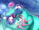 Konachan.com - 101885 dabadhi dress houjuu_nue night red_eyes sky thighhighs touhou wings
