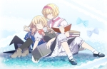 Konachan.com - 102028 2girls alice_margatroid blonde_hair book dress kirisame_marisa ofuton_zeb touhou