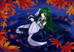 Konachan.com - 102350 green_eyes green_hair japanese_clothes kochiya_sanae long_hair touhou water wet zzz36951