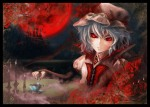 Konachan.com - 102778 bat flowers hat moon night red_eyes remilia_scarlet rose touhou wings zhaoli_jin