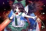 Konachan.com - 103531 bow cape futase_hijiri red_eyes reiuji_utsuho space touhou weapon wings