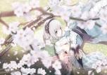 Konachan.com - 103534 blue_eyes butterfly flowers katana konpaku_youmu pink_hair saigyouji_yuyuko sword tamamono_atae touhou weapon
