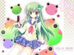 Konachan.com - 103745 green_hair kochiya_sanae seifuku shirogane_hina thighhighs touhou