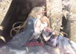 Konachan.com - 104033 2girls blonde_hair breasts horns hoshiguma_yuugi ibuki_suika long_hair no_bra sleeping tamamono_atae touhou tree underboob