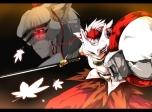 Konachan.com - 104251 chaigidhiell inubashiri_momiji mask red_eyes sword touhou weapon
