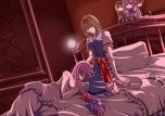 Konachan.com - 104268 alice_margatroid bed blonde_hair blue_eyes doll koakuma long_hair pandora_(artist) patchouli_knowledge pink_hair touhou