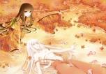 Konachan.com - 104540 brown_eyes brown_hair fujiwara_no_mokou houraisan_kaguya japanese_clothes pping touhou white_hair