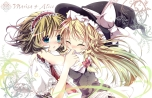 Konachan.com - 104601 2girls alice_margatroid blonde_hair hat hikobae kirisame_marisa tears touhou