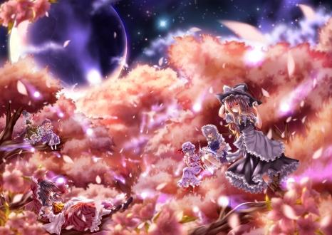 Konachan.com - 104864 dress hakurei_reimu izayoi_sakuya kamumiya kirisame_marisa konpaku_youmu petals remilia_scarlet saigyouji_yuyuko touhou tree