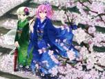 Konachan.com - 105409 din_(flypaper) flowers japanese_clothes konpaku_youmu petals purple_eyes purple_hair saigyouji_yuyuko touhou umbrella
