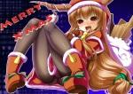 Konachan.com - 151190 blush brown_hair christmas fang horns ibuki_suika long_hair mino106 panties pantyhose touhou underwear