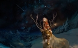 Konachan.com - 151210 animal christmas horns landscape night original scenic sky snow stars winter you_(shimizu)