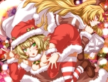 Konachan.com - 151438 blonde_hair christmas cleavage green_eyes horns hoshiguma_yuugi mizuhashi_parsee santa_costume touhou zan_(harukahime)