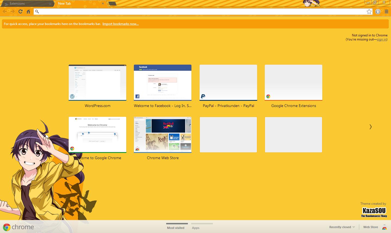 Google chrome themes yellow - Skin Name Karen Araragi