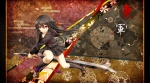 Konachan.com - 119658 black_hair ku long_hair original petals seifuku sword weapon