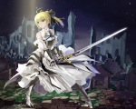 Konachan.com - 119808 armor blonde_hair bow dress fate_stay_night fate_zero green_eyes jpeg_artifacts okingjo saber sword weapon