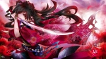 Konachan.com - 120202 flowers japanese_clothes red_eyes sword tagme tyouya weapon