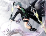 Konachan.com - 123333 boots bow chain gray_hair konpaku_youmu purple_eyes reio_(reio_reio) sword touhou weapon