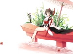 Konachan.com - 123795 brown_hair flowers hat japanese_clothes katana red_eyes shameimaru_aya short_hair sword touhou umbrella watase-ya water weapon