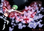Konachan.com - 150649 altria9 butterfly green_eyes green_hair short_hair skirt thighhighs touhou wriggle_nightbug