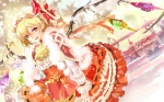Konachan.com - 151012 119 blonde_hair bow christmas flandre_scarlet hat red_eyes snow touhou wings