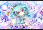Konachan.com - 151314 blue_hair dress fumiko_(miruyuana) kaku_seiga magic pink_eyes ribbons short_hair touhou