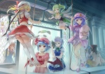 Konachan.com - 151393 77gl animal blood bow cirno cosplay dress group hat koakuma long_hair panties parody pink_eyes red_hair ribbons stockings touhou underwear wings