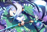 Konachan.com - 152821 aqua_hair blue_eyes dress flowers ichiyan katana konpaku_youmu ribbons short_hair sword touhou weapon