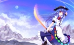 Konachan.com - 153658 blue_hair clouds cross_(crossryou) dress hat hinanawi_tenshi moon sky sword touhou weapon