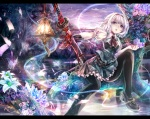 Konachan.com - 154418 afraco blue_eyes flowers gloves katana konpaku_youmu pantyhose short_hair sword touhou water weapon white_hair
