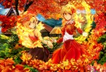 Konachan.com - 155650 2girls aki_minoriko aki_shizuha blonde_hair dress flowers hat jpeg_artifacts leaves poyan_noken red_eyes short_hair stairs touhou tree