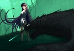 Konachan.com - 124811 black_hair blight_essence katana long_hair original pantyhose red_eyes sword torn_clothes water weapon