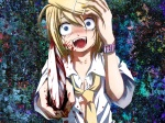 Konachan.com - 125471 blonde_hair blood blue_eyes bra crying kagamine_rin knife kuromayu open_shirt short_hair underwear vocaloid weapon