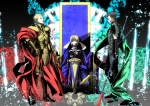 Konachan.com - 126983 armor blonde_hair cape fate_stay_night fate_zero gilgamesh lancer s_tanly saber short_hair spear sword weapon