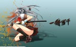 Konachan.com - 129421 chouun_shiryuu gloves gray_hair ikkitousen katana long_hair photoshop seifuku shiozaki_yuji sword vector watermark weapon
