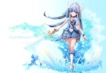 Konachan.com - 129493 aoki_reika blue_eyes blue_hair cure_beauty long_hair smile_precure sword tagme_(artist) weapon