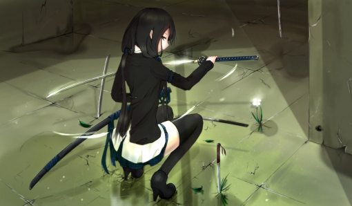Konachan.com - 159504 black_hair katana kikivi original red_eyes sword thighhighs weapon