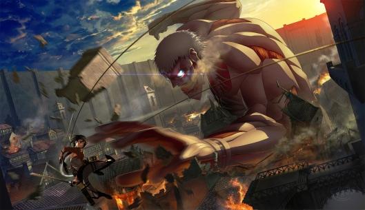 Konachan.com - 163780 armored_titan gonz_tanaka mikasa_ackerman shingeki_no_kyojin