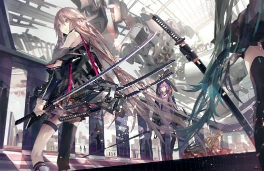 Konachan.com - 164466 hatsune_miku ia katana kiwamu long_hair seeu sword thighhighs vocaloid weapon yuzuki_yukari