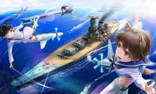 Konachan.com - 154787 animal_ears boat eyepatch gun hattori_shizuka katana lif_(lif-ppp) miyafuji_yoshika sakamoto_mio strike_witches sword water weapon