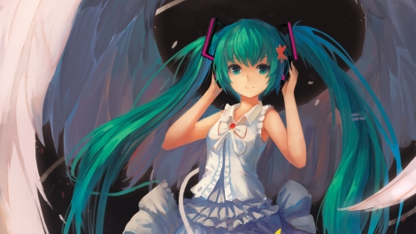 Konachan.com - 157854 aqua_eyes aqua_hair hatsune_miku twintails vocaloid wings